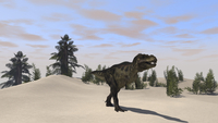Tyrannosaurus Rex hunting for its next meal.