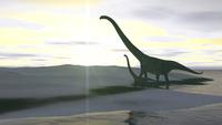 Mamenchisaurus and her offspring walking across a barren landscape.