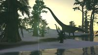 Mamenchisaurus and her offspring walking a prehistoric environment.