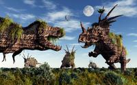 Styracosaurus and Tyrannosaurus Rex dinosaur sculptures. 11079022862| 写真素材・ストックフォト・画像・イラスト素材|アマナイメージズ