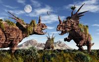 Styracosaurus dinosaur sculptures. 11079022864| 写真素材・ストックフォト・画像・イラスト素材|アマナイメージズ