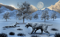 A pair of Sabre-Toothed Tigers surviving a prehistoric winter.