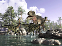 A Tyrannosaurus Rex hunting two Gallimimus dinosaurs in a river.