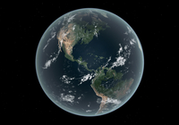 Earth's Western hemisphere with rise in sea level 330 feet above average.