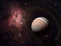 The gas giant Carter orbited by it's two small moons Banth and Sorak.