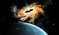 A space shuttle tries to avoid the gravity well of a supermassive black hole. 11079023584| 写真素材・ストックフォト・画像・イラスト素材|アマナイメージズ