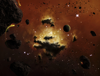 A nebula evaporates in the far distance of an asteroid field.