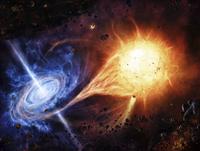 A binary system orbiting near a black hole. 11079023595| 写真素材・ストックフォト・画像・イラスト素材|アマナイメージズ