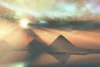 Sunrays shine down on three pyramids along the Nile River on the Giza Plateau. 11079023771| 写真素材・ストックフォト・画像・イラスト素材|アマナイメージズ