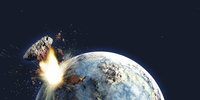 Apocalyptic illustration of Earth exploding from the inside.