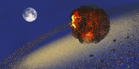 The Earth lays in ruins after an asteriod hits the planet.