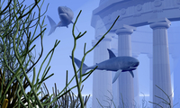Two Mako sharks swim by an underwater greek temple.