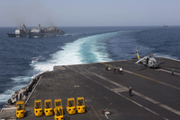 U.S. Navy ships in the Arabian Sea during a replenishment at sea exercise.
