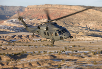 An HH-60G Pave Hawk flies a low level route over New Mexico.