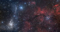 Blue and red nebulae in the Camelopardalis constellation. 11079024812| 写真素材・ストックフォト・画像・イラスト素材|アマナイメージズ