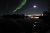 Aurora borealis over Long Lake, Northwest Territories, Canada.