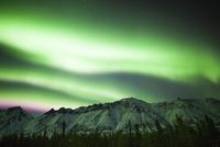 Bright aurora borealis over Annie Lake, Yukon, Canada.