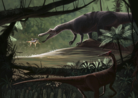 Baryonyx walkeri fishing while a Pelecanimimus observes from the other side.