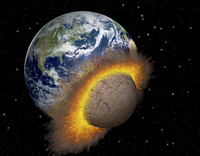 Earth colliding with a Mars-sized planet.