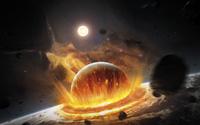 Apocalyptic space scene with two colliding planets. 11079025005| 写真素材・ストックフォト・画像・イラスト素材|アマナイメージズ