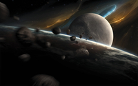 Dynamic space scene with incoming asteroids. 11079025012| 写真素材・ストックフォト・画像・イラスト素材|アマナイメージズ