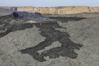 Basaltic lava flow from pit crater, Erta Ale volcano, Danakil Depression, Ethiopia.