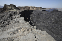 South pit crater filled by basaltic lava flows, Erta Ale volcano, Danakil Depression, Ethiopia.