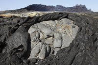 Basaltic lava flows from lava lake in pit crater, Erta Ale volcano, Danakil  Depression, Ethiopia.