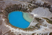 Aerial view of crater lake in Tongariro volcanic complex, New Zealand.