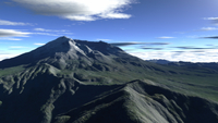 Terragen render of Mt. St. Helens, Washington, in daylight.