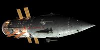 Artist's concept of an Orion-drive battleship, Soviet style. 11079025605| 写真素材・ストックフォト・画像・イラスト素材|アマナイメージズ