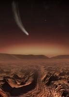 A comet lights up the landscape of Candor Chasma over Mars.