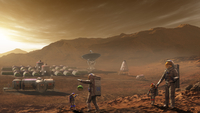 Future Mars colonists playing with children on Mars, a place they call home.