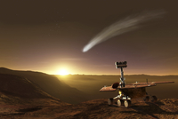 Comet over Endeavour Crater