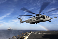 A CH-53E Super Stallion prepares to land on USNS Arctic.