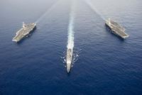 USS George Washington, USS Mobile Bay, & USS John C. Stennis.