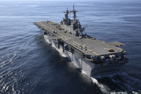 The amphibious assault ship USS Kearsarge transits the Atlantic Ocean.