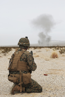 U.S. Marine provides security as part of a training assault.
