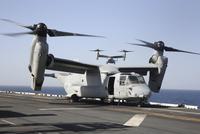 U.S. Marine Corps MV-22B Osprey tiltrotor aircraft.