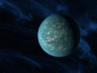 Artist's concept of Kepler 22b, an extrasolar planet found to orbit the habitable zone.