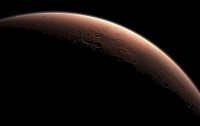 Illustration depicting part of Mars at the boundary between darkness and daylight.