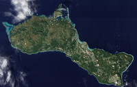 Satellite view of the island of Guam.