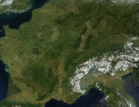 True-color satellite view of France.