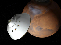 Artist's concept of an aeroshell-encased spacecraft approaching Mars.