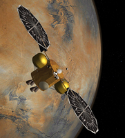 Artist's concept of a spacecraft orbiting Mars.