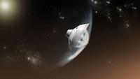 Concept of NASA's Mars Science Laboratory aeroshell capsule as it enters the Martian atmosphere. 11079026572| 写真素材・ストックフォト・画像・イラスト素材|アマナイメージズ