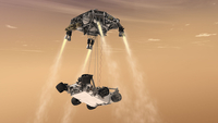 The sky crane maneuver during the descent of NASA's Curiosity rover.