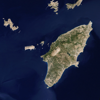 Satellite image of the Greek island of Rhodes in the Aegean Sea.