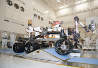 Curiosity rover in the testing facility.