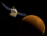 Artist's concept of NASA's MAVEN spacecraft.